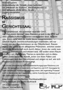 rassismus im gerichtssaal flyer back copy